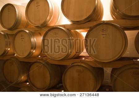 oak barrels in the old wine cellar used for wine storage