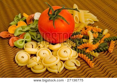 colorful pasta mix with tomatoe