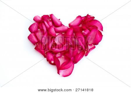 heart made of rose petals on white background