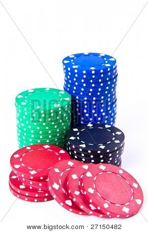 poker chips on white background