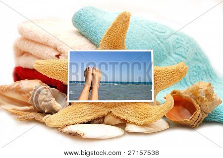 Holiday beach concept - on white background