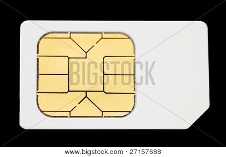 Sim card isolated on black background