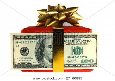 Gift box with banknote of dollar