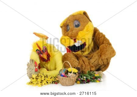Easter Bunny And Chicken
