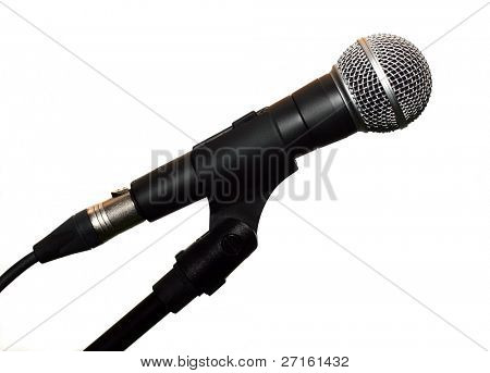 Microphone on stand isolated on white background