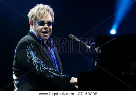 MINSK, BELARUS - JUNE 26: Singer Elton John performs onstage at Minsk Arena June 26, 2010 in Minsk, Belarus