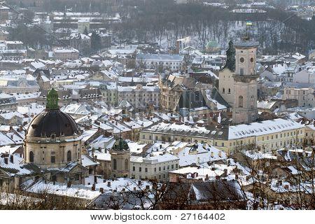 Winter view of Lviv, Ukraine central part