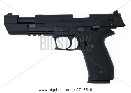 Black Semi Automatic Handgun Isolated On White, Slide Open