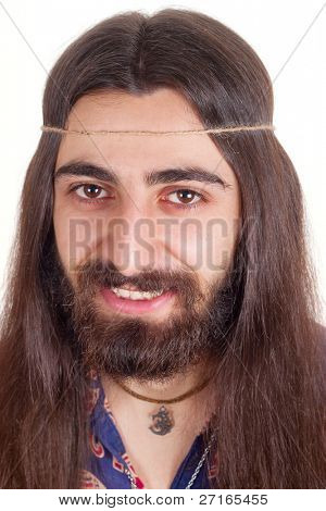 Long-haired handsome smiling hippie man