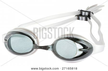 Grey goggles isolated in white