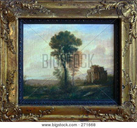 """Old"" Landscape Painting In Frame"