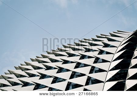 Singapore's iconic building often called the durian building due to its design. the esplanade is an art center and home of theatres on the bay.