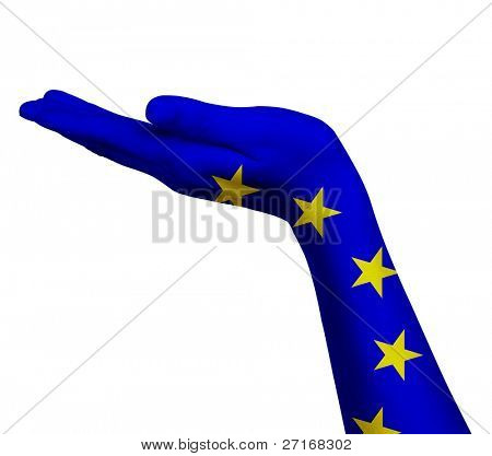 EU flag on an open hand