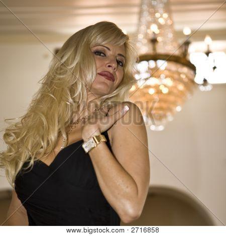 Beautiful Woman In Black Evening Dress