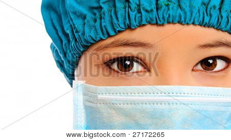Close up of a surgeon with mask and surgical cap