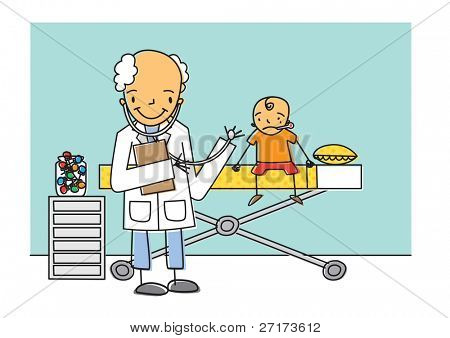 Cheerful doctor examines a young boy who is a sick patient in hospital, illustration vector image