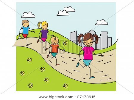 Carefree children run in the park together having fun and smiling. vector illustration
