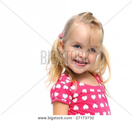 beautiful young girl giggles and laughs in studio, isolated on white