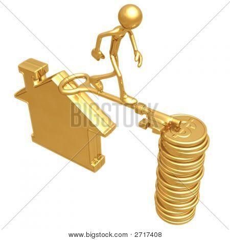 Ponte de chave dourada entre casa e moedas