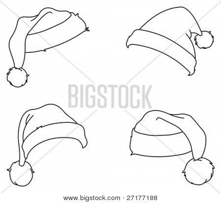 Outlined Santa hats