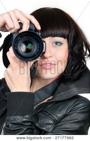 woman with photo camera isolated on white background