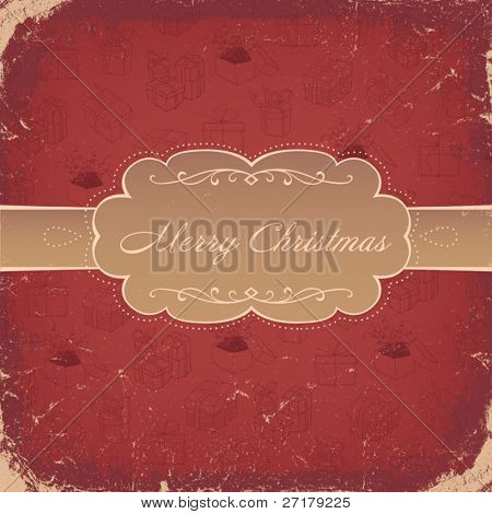 Red Vintage Christmas Background. Vector, EPS8