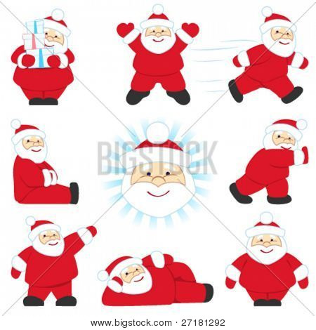 set of different poses santa
