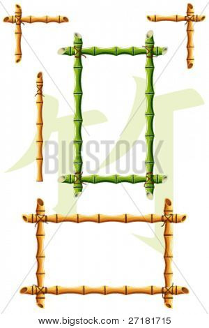 set of vector bamboo design elements