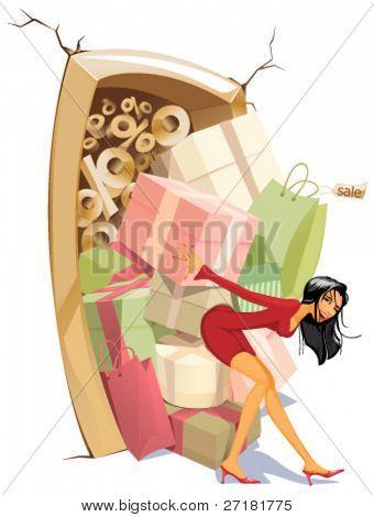 vector illustration of fun girl on sale