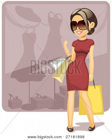 vector illustration of cartoon shopping girl