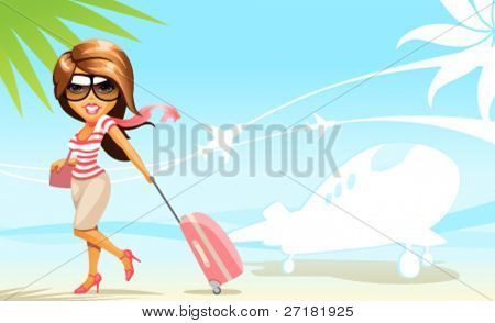 vector background with travel girl