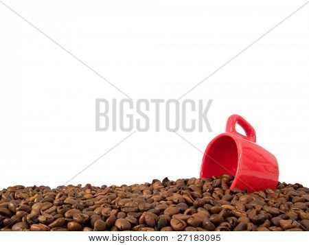 coffee beans and an espresso cup with copy-space at top