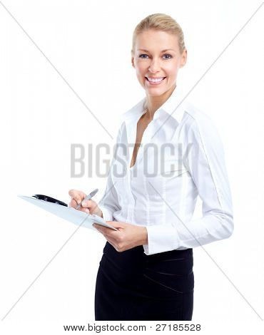 Business woman accountant. Isolated on white backgorund.