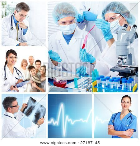 Medical doctors  in a laboratory. Health care collage.