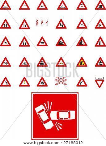 Señales de tráfico de Vector sobre fondo blanco