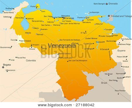 Abstract vector color map of Venezuela country