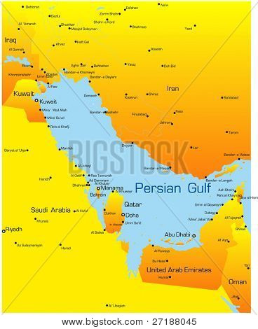 Abstract vector color map of Persian gulf countries