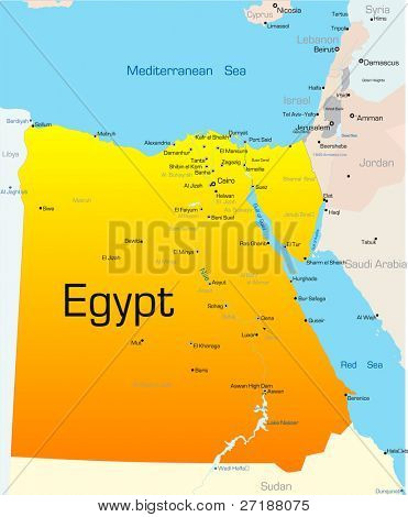 Abstract vector color map of Egypt country
