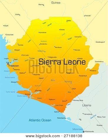 Abstract vector color map of Sierra Leone country