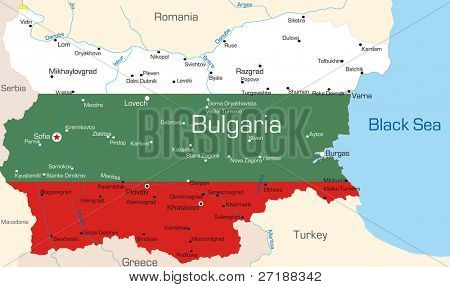 Abstract vector color map of Bulgaria country coloured by national flag