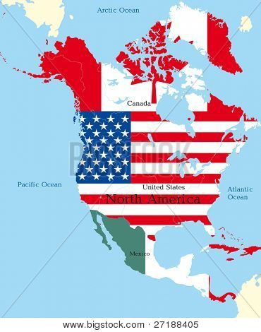 Abstract map of north america colored by flags