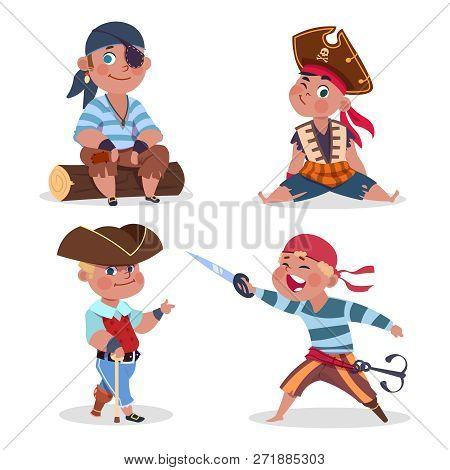 Cartoon Character Boys Pirates Vector