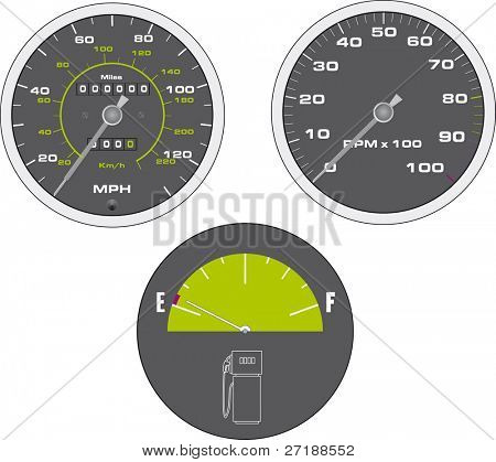 Vector illustration of tachometer and speedometer