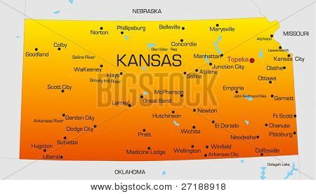 Vector color map of Kansas state. Usa