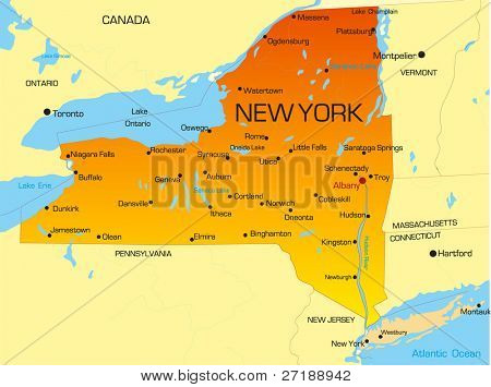 Mapa de cor do vetor do estado de Nova York. Estados Unidos da América