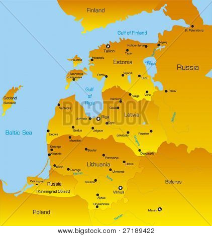 Map of Baltic region countries