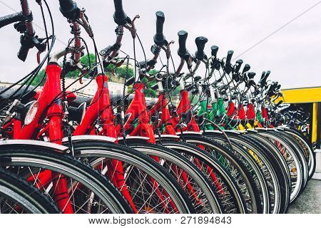 Colorful City Bikes In A