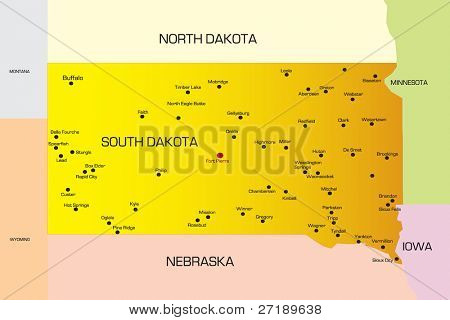 Vector color map of South Dakota state. Usa