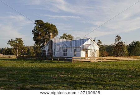 Old farm house in warm evening light