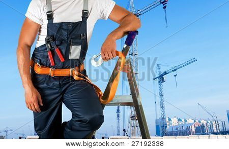 steeplejack on building background